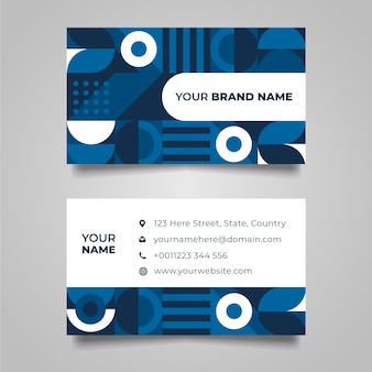 Lines and dots classic blue business card