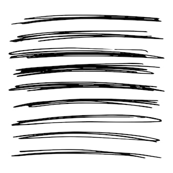 Lines hand drawn grunge set. abstract black doodle lines isolated on white background. vector illustration