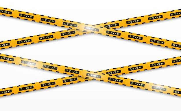 分離された行。警告テープ。注意。危険標識。黄色と黒の警察ラインと危険テープ。