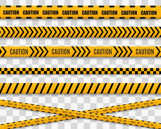 Lines isolated. warning tapes. caution. danger signs. yellow with black police line and danger tapes.