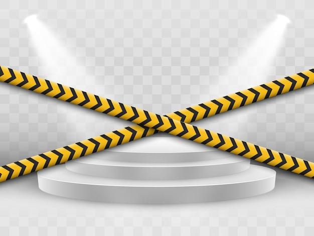 Линии изолированы. предупреждающие ленты. осторожно. знаки опасности.
