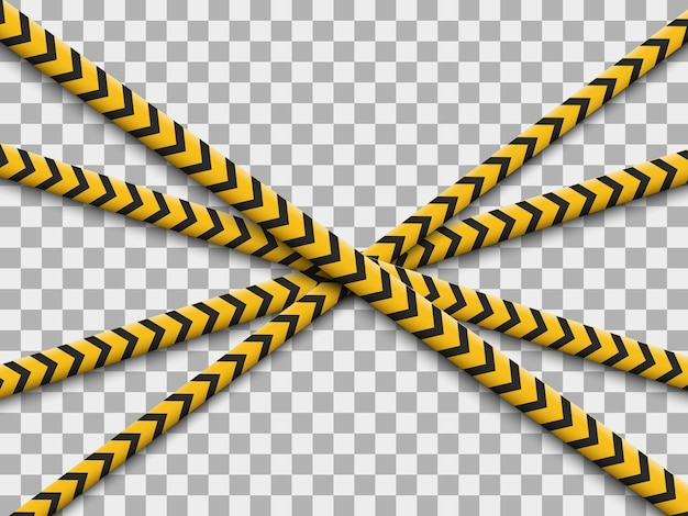 Lines isolated. warning tapes. caution. danger signs.