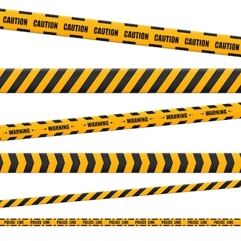Lines isolated. warning tapes. caution. danger