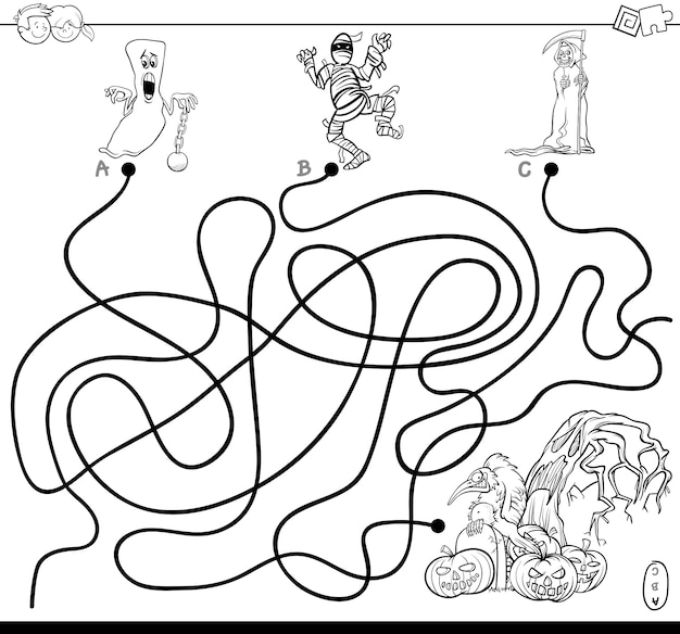 Lines maze game with halloween characters coloring book