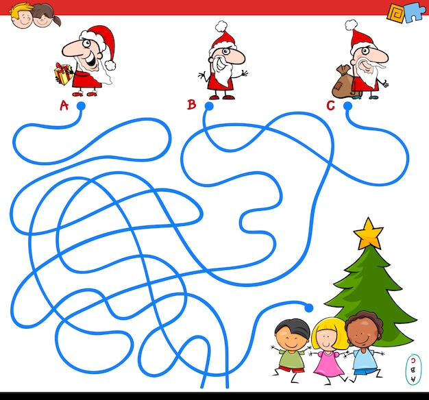Lines maze game with santa characters