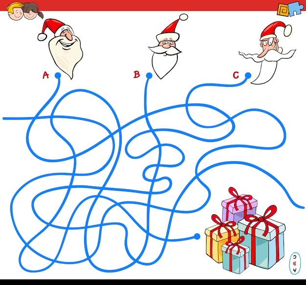 Lines maze puzzle game with santa characters