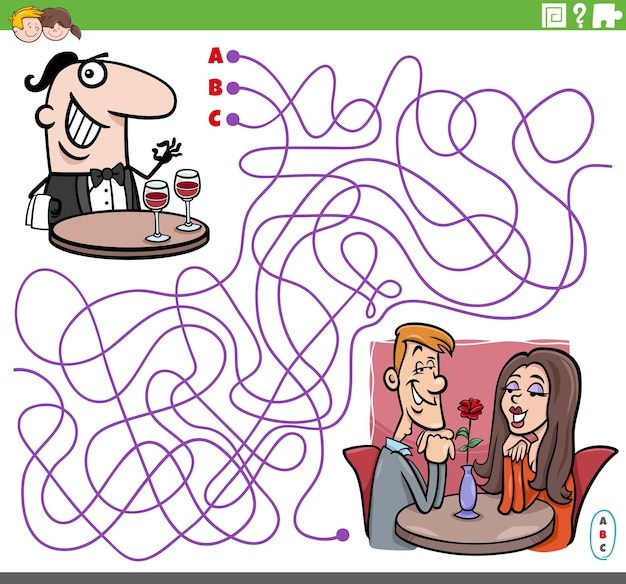 Lines maze puzzle game with waiter character and couple in restaurant