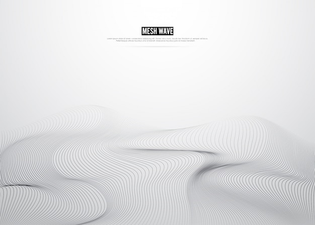 Lines mesh digital background. mountain concept design