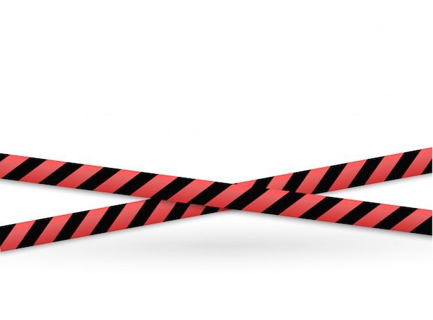 Линии изоляции. реалистичные предупреждающие ленты. признаки опасности.