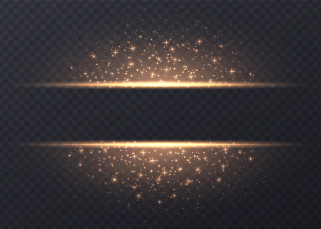 Lines with stars and sparkles isolated. golden luminous background with dust and glares. glowing vector light effect.
