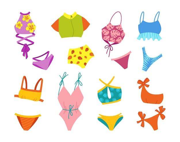 란제리와 수영복 여름 세련된 만화 세트.