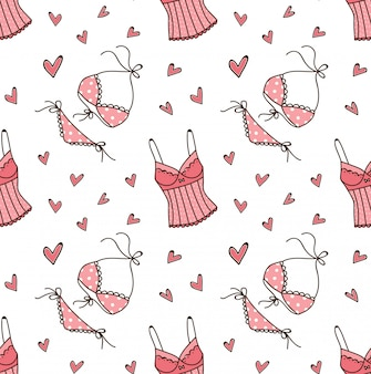 Lingerie doodle seamless pattern