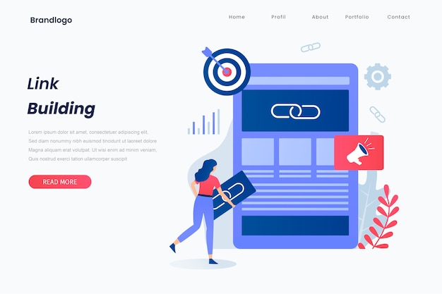 Link building landing page concept. landing page