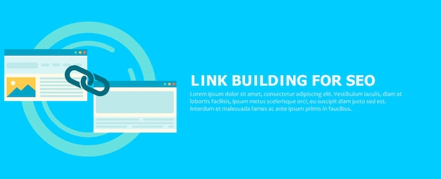 Link building for seo banner. two pages are connected by a chain.