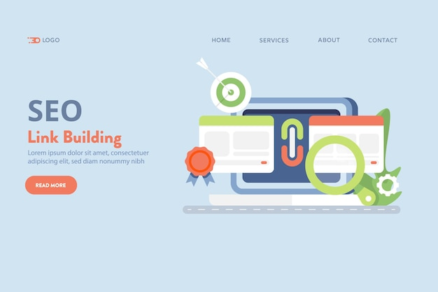Link building for seo vector concept