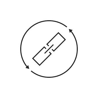링크 교환 선 아이콘입니다. 체인 링크, 안전, 가상, 데이터베이스, 동기화, 원격, 동기화의 개념. 흰색 배경에 고립. 플랫 스타일 트렌드 현대 로고 디자인 벡터 일러스트 레이션