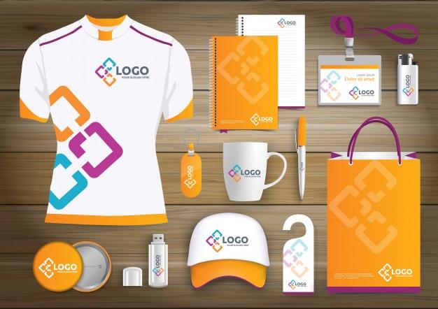 Сетевые подарочные товары, рекламный дизайн с цветовым дизайном для фирменного стиля link с технологическими линиями. набор канцелярских принадлежностей, цифровой технологический шаблон mock up