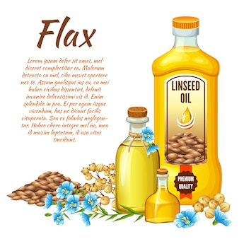 Linseed oil, flax seeds and flowers.