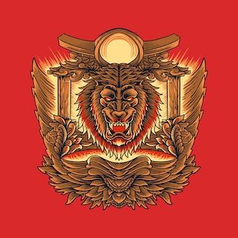 装飾品とライオンの祭壇の頭のイラスト