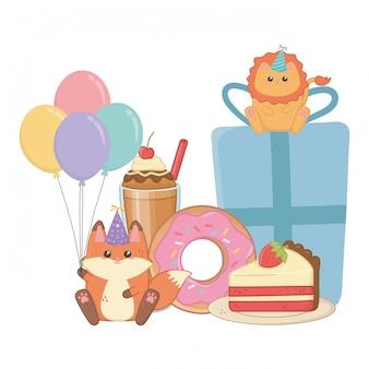 お誕生日おめでとうお祝いのライオンとキツネ