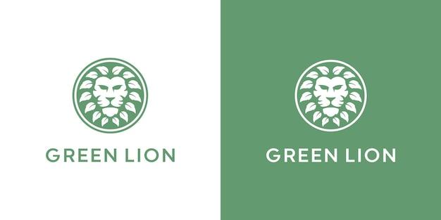 ライオンと葉のロゴデザインプレミアムベクトル
