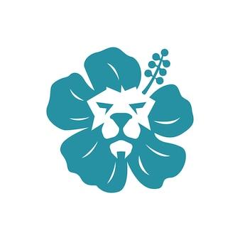 ライオンとリリーのロゴのコンセプト。アートのライオンのシルエットのロゴと花