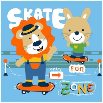 スケートボードの面白い動物の漫画を再生するライオンとウサギ
