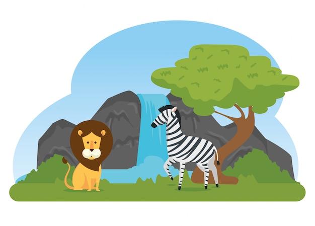 Заповедник диких животных лев и зебра