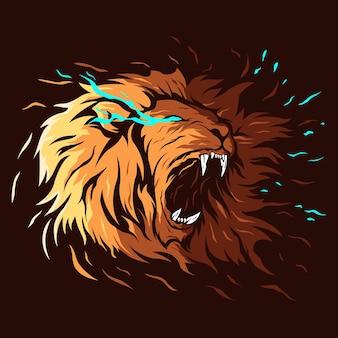 ライオン怒っているフルカラーイラストロゴ