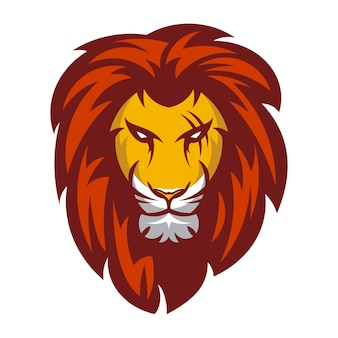 Lion animal mascot head vector illustration logo