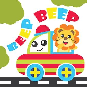 Lion boys on the beep car vector cartoon
