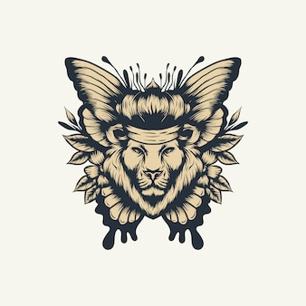 Lion butterfly vector