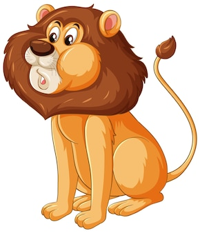 Lion cartoon character in sitting pose isolated