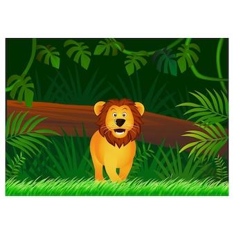 森の背景にライオンの漫画