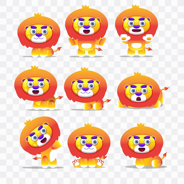 Lion cartoon with different poses and expressions.