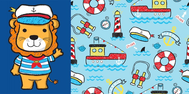 Lion cartoon with sailinging equipment on seamless pattern