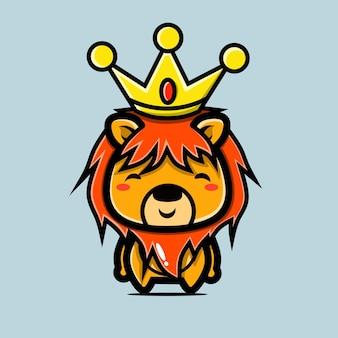 Персонаж льва с короной в стиле чиби