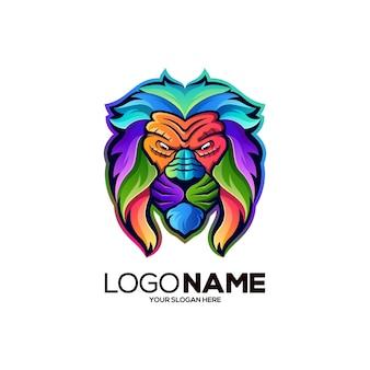 사자 다채로운 마스코트 로고 디자인