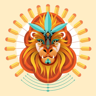 Lion colorful  style creative artwork illustration