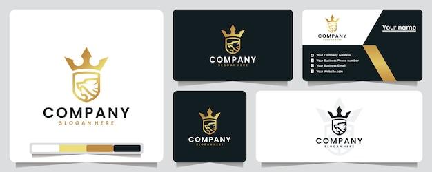 ライオンクラウン、ゴールド、ラグジュアリー、シールド、ロゴデザインのインスピレーション