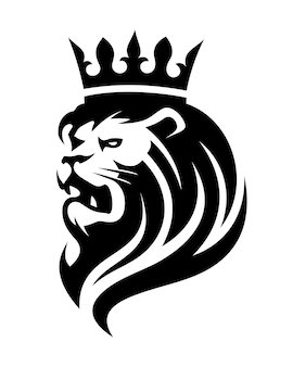 Lion in crown logo on white background in vector eps 8