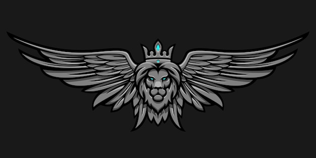 Lion in crown and wings on a dark background in vector eps 8