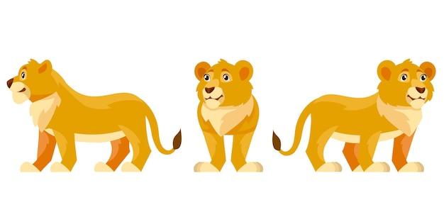 さまざまなポーズのライオンの子。漫画風のアフリカの動物。