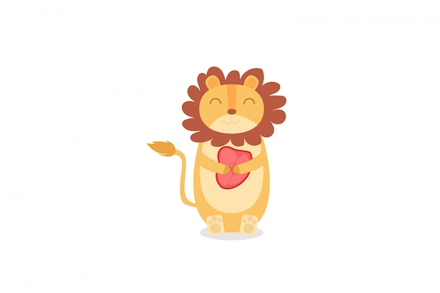 Lion cute holds the flesh hand drawing