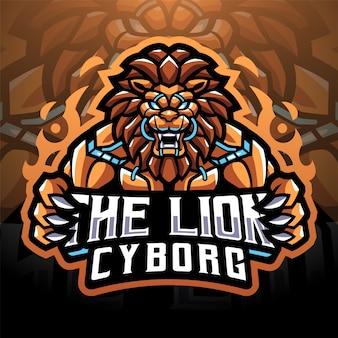 The lion cyborg esport mascot logo design