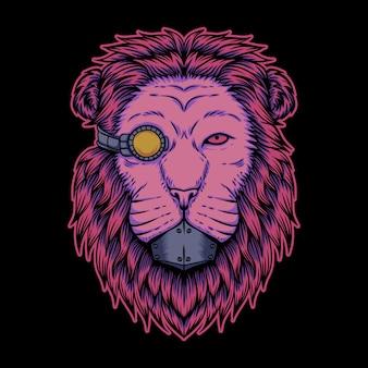 Lion cyborg illustration