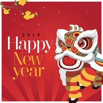 Lion dance happy new year