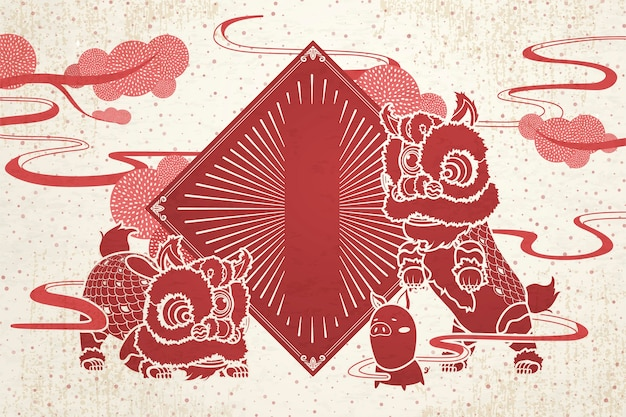 Lion dance and pig with blank spring couplets for chinese new year greeting