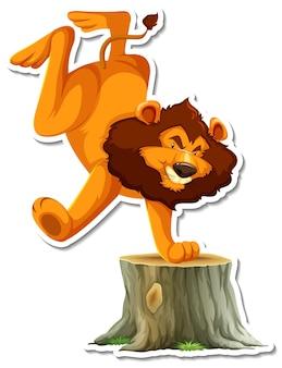 Personaggio dei cartoni animati che balla il leone su sfondo bianco
