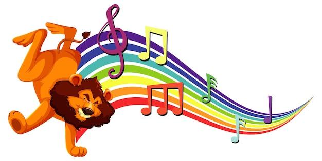 Leone che balla con simboli di melodia sull'arcobaleno
